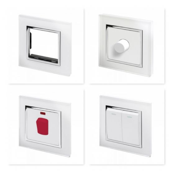 Crystal White Chrome Trim Glass Switches & Sockets